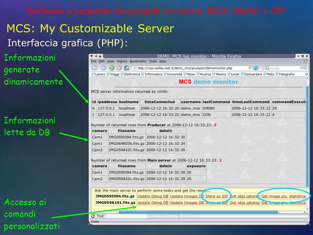 Software a supporto dei progetti di ricerca: MCS, MyRO e DIF MCS: My Customizable Server Interfaccia grafica (PHP): Informazioni generate dinamicamente Informazioni lette da DB Accesso ai comandi personalizzati