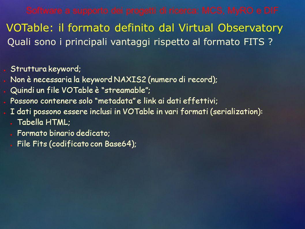 Software a supporto dei progetti di ricerca: MCS, MyRO e DIF VOTable: il formato definito dal Virtual Observatory Struttura keyword; Non è necessaria la keyword NAXIS2 (numero di record); Quindi un file VOTable è streamable; Possono contenere solo metadata e link ai dati effettivi; I dati possono essere inclusi in VOTable in vari formati (serialization): Tabella HTML; Formato binario dedicato; File Fits (codificato con Base64); Quali sono i principali vantaggi rispetto al formato FITS ?