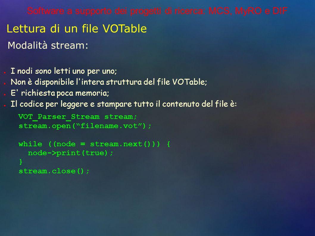 Software a supporto dei progetti di ricerca: MCS, MyRO e DIF Lettura di un file VOTable Modalità stream: VOT_Parser_Stream stream; stream.open(filename.vot); while ((node = stream.next())) { node->print(true); } stream.close(); I nodi sono letti uno per uno; Non è disponibile l intera struttura del file VOTable; E richiesta poca memoria; Il codice per leggere e stampare tutto il contenuto del file è: