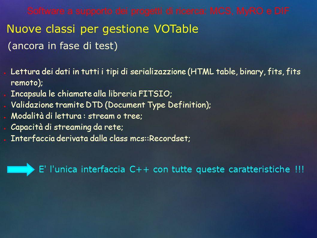 Software a supporto dei progetti di ricerca: MCS, MyRO e DIF Nuove classi per gestione VOTable (ancora in fase di test) Lettura dei dati in tutti i tipi di serializazzione (HTML table, binary, fits, fits remoto); Incapsula le chiamate alla libreria FITSIO; Validazione tramite DTD (Document Type Definition); Modalità di lettura : stream o tree; Capacità di streaming da rete; Interfaccia derivata dalla class mcs::Recordset; E l unica interfaccia C++ con tutte queste caratteristiche !!!
