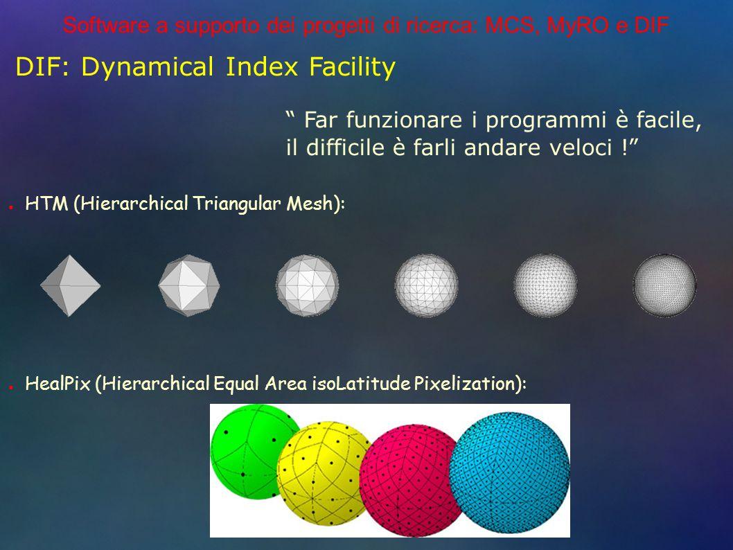 Software a supporto dei progetti di ricerca: MCS, MyRO e DIF DIF: Dynamical Index Facility Far funzionare i programmi è facile, il difficile è farli andare veloci .
