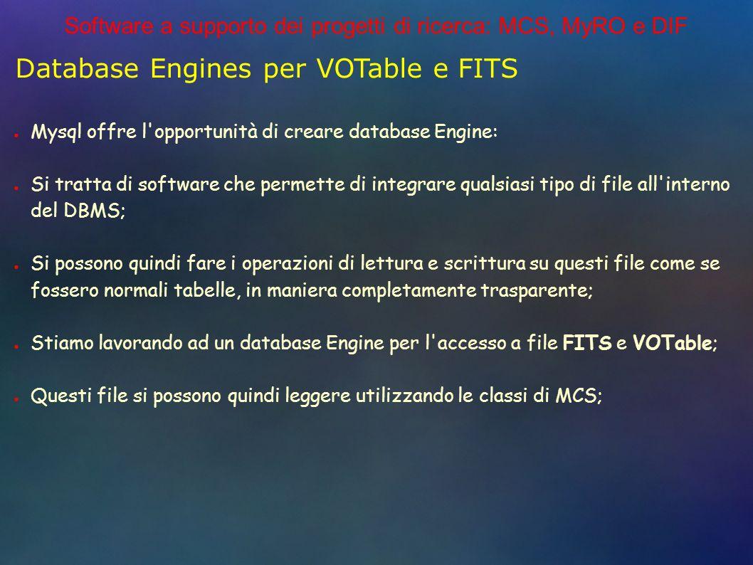 Software a supporto dei progetti di ricerca: MCS, MyRO e DIF Database Engines per VOTable e FITS Mysql offre l opportunità di creare database Engine: Si tratta di software che permette di integrare qualsiasi tipo di file all interno del DBMS; Si possono quindi fare i operazioni di lettura e scrittura su questi file come se fossero normali tabelle, in maniera completamente trasparente; Stiamo lavorando ad un database Engine per l accesso a file FITS e VOTable; Questi file si possono quindi leggere utilizzando le classi di MCS;