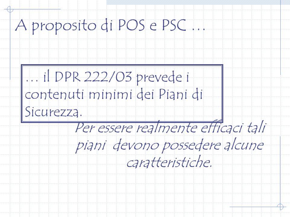 A proposito di POS e PSC … … il DPR 222/03 prevede i contenuti minimi dei Piani di Sicurezza.