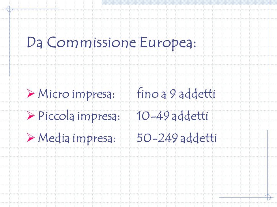 Da Commissione Europea: Micro impresa:fino a 9 addetti Piccola impresa:10-49 addetti Media impresa:50-249 addetti