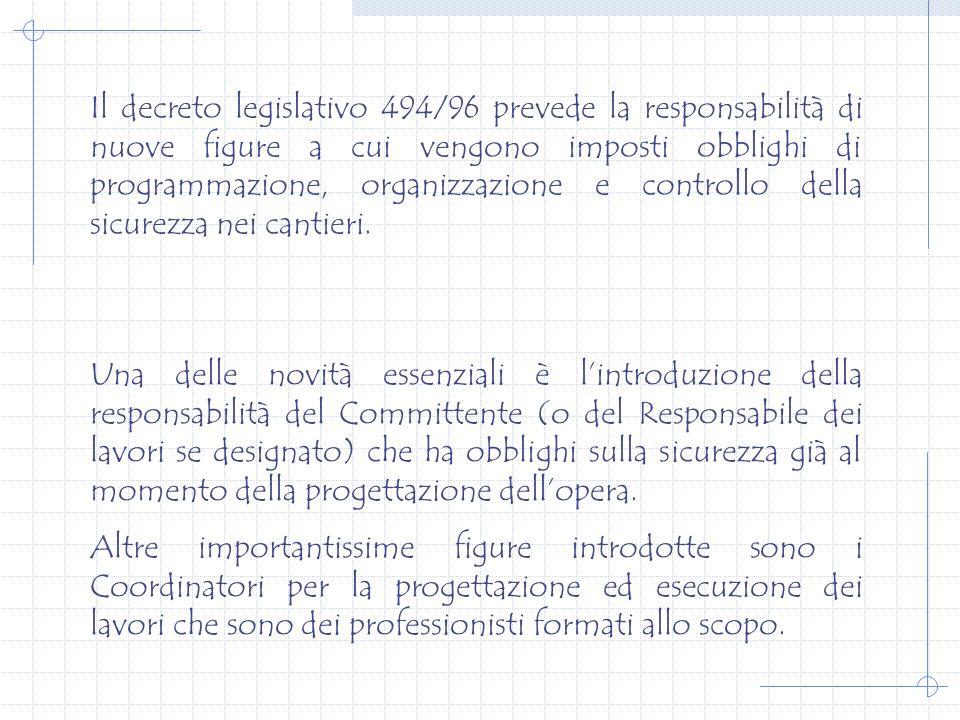 OBBLIGHI DI NOTIFICA, DI NOMINA DEI COORDINATORI E DI REDAZIONE DEI PIANI DI SICUREZZA D.LGS.