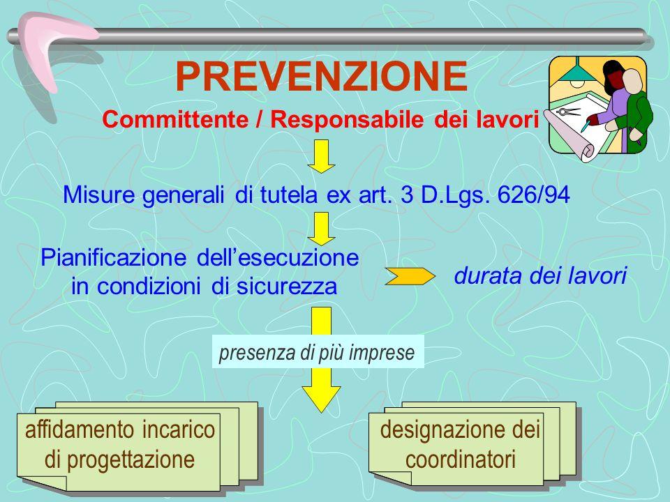 PREVENZIONE Misure generali di tutela ex art. 3 D.Lgs. 626/94 Pianificazione dellesecuzione in condizioni di sicurezza durata dei lavori Committente /