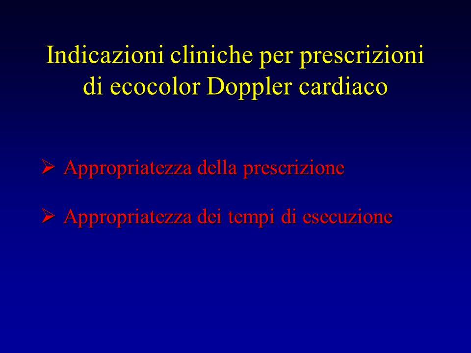 Indicazioni cliniche per prescrizioni di ecocolor Doppler cardiaco Appropriatezza della prescrizione Appropriatezza della prescrizione Appropriatezza
