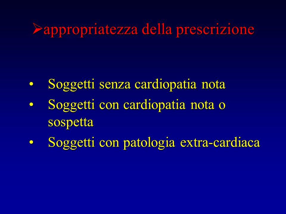 appropriatezza della prescrizione appropriatezza della prescrizione Soggetti senza cardiopatia notaSoggetti senza cardiopatia nota Soggetti con cardio
