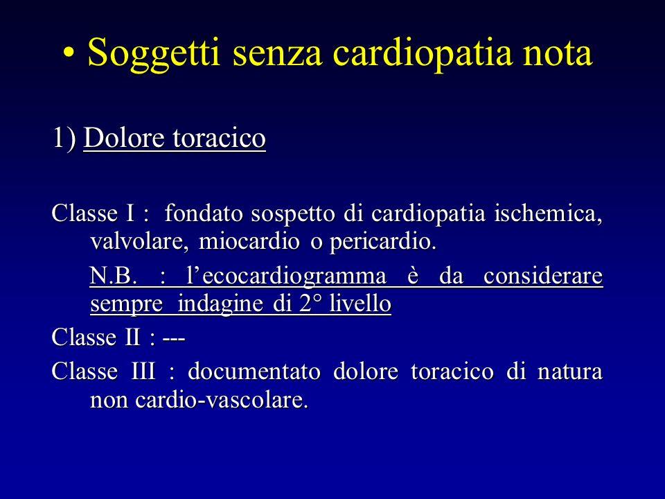 Soggetti senza cardiopatia nota Soggetti senza cardiopatia nota 1) Dolore toracico Classe I : fondato sospetto di cardiopatia ischemica, valvolare, mi