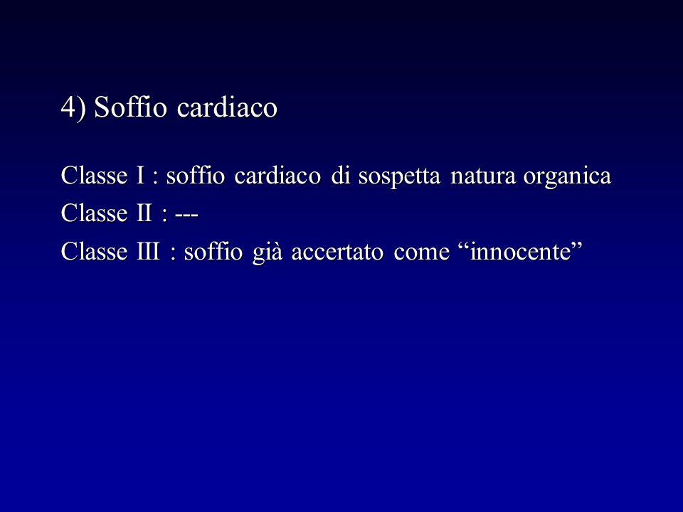 4) Soffio cardiaco Classe I : soffio cardiaco di sospetta natura organica Classe II : --- Classe III : soffio già accertato come innocente