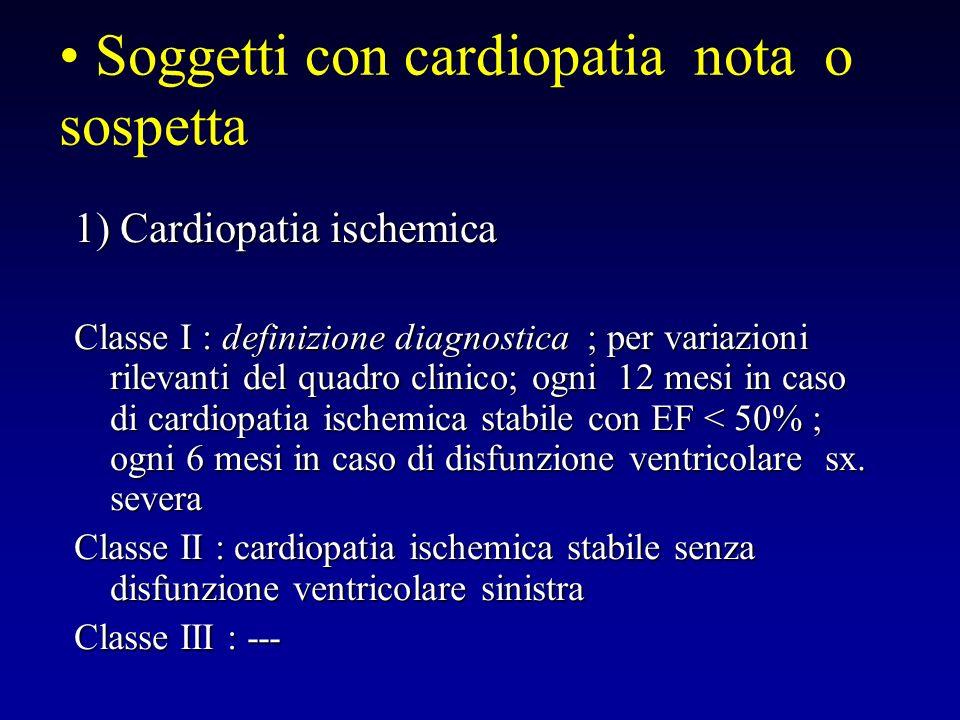 1) Cardiopatia ischemica Classe I : definizione diagnostica ; per variazioni rilevanti del quadro clinico; ogni 12 mesi in caso di cardiopatia ischemi