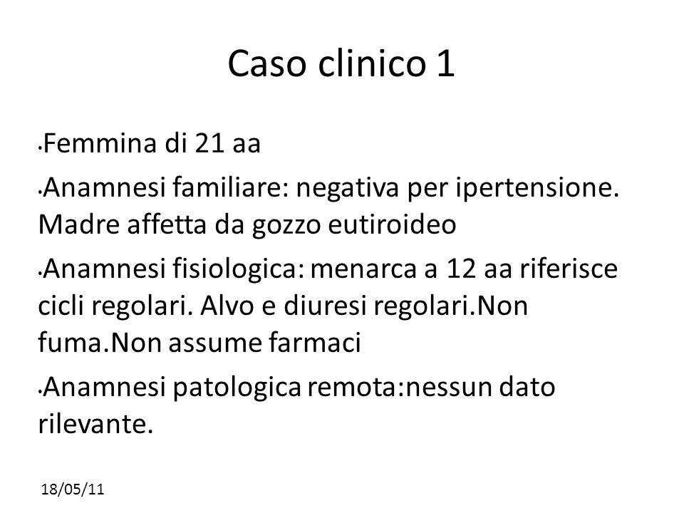 18/05/11 Caso clinico 1 Femmina di 21 aa Anamnesi familiare: negativa per ipertensione. Madre affetta da gozzo eutiroideo Anamnesi fisiologica: menarc