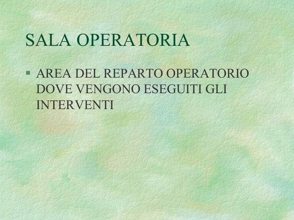 SALA OPERATORIA §AREA DEL REPARTO OPERATORIO DOVE VENGONO ESEGUITI GLI INTERVENTI