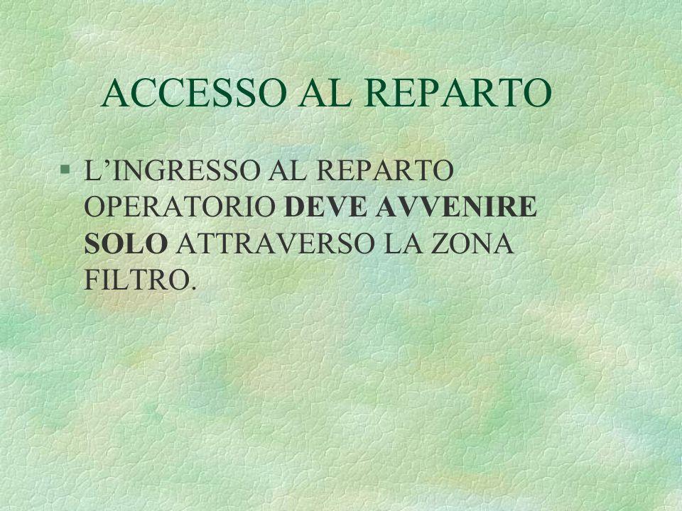 ACCESSO AL REPARTO §LINGRESSO AL REPARTO OPERATORIO DEVE AVVENIRE SOLO ATTRAVERSO LA ZONA FILTRO.