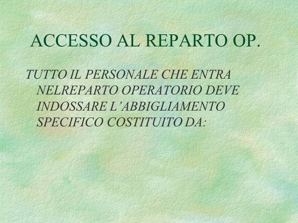 ACCESSO AL REPARTO OP.§DIVISA PULITA -PANTALONI CASACCA- §MASCHERINA CHIRURGICA M.U.
