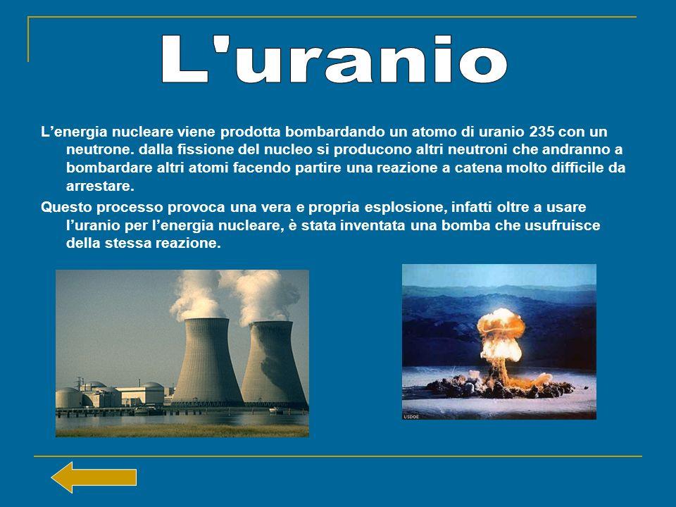 Lenergia nucleare viene prodotta bombardando un atomo di uranio 235 con un neutrone. dalla fissione del nucleo si producono altri neutroni che andrann