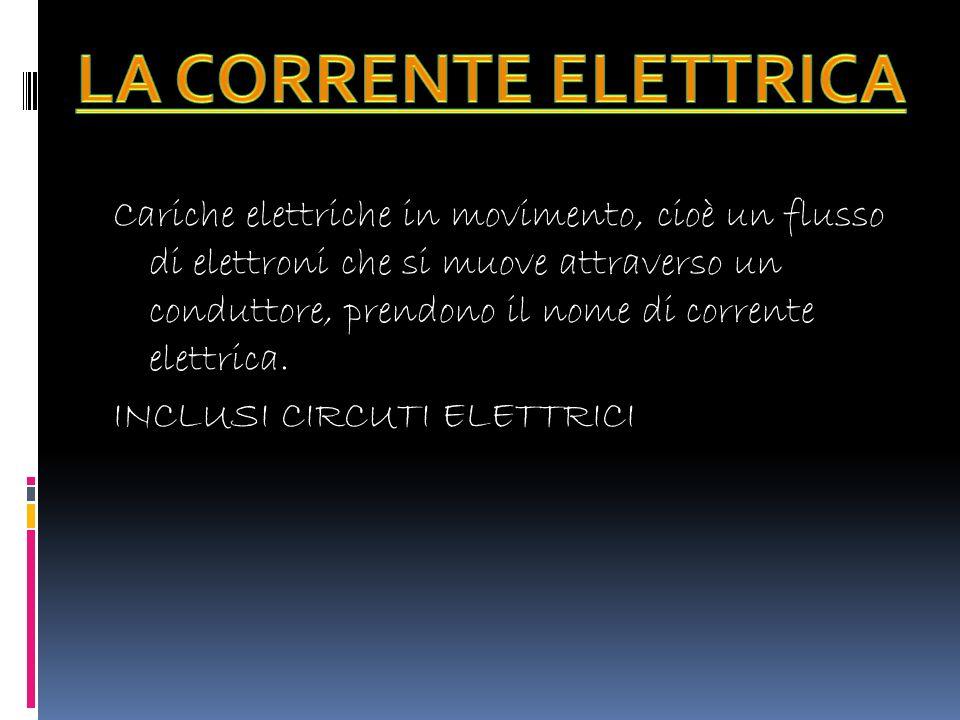 Cariche elettriche in movimento, cioè un flusso di elettroni che si muove attraverso un conduttore, prendono il nome di corrente elettrica.
