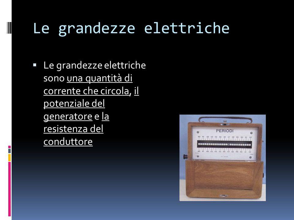 Le grandezze elettriche Le grandezze elettriche sono una quantità di corrente che circola, il potenziale del generatore e la resistenza del conduttore