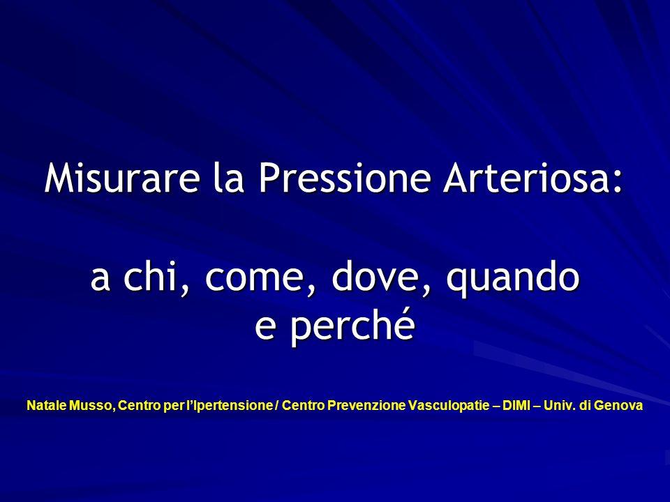 1 Misurare la Pressione Arteriosa: a chi, come, dove, quando e perché Misurare la Pressione Arteriosa: a chi, come, dove, quando e perché Natale Musso