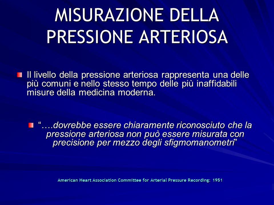 2 MISURAZIONE DELLA PRESSIONE ARTERIOSA Il livello della pressione arteriosa rappresenta una delle più comuni e nello stesso tempo delle più inaffidab