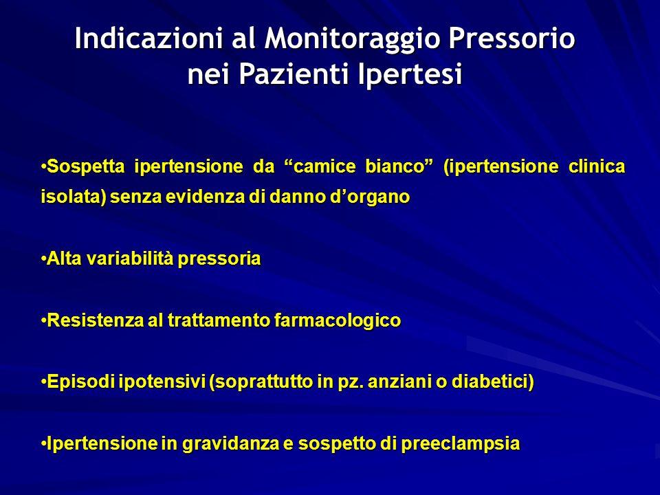 41 Indicazioni al Monitoraggio Pressorio nei Pazienti Ipertesi Sospetta ipertensione da camice bianco (ipertensione clinica isolata) senza evidenza di