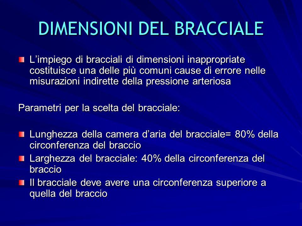 7 DIMENSIONI DEL BRACCIALE Limpiego di bracciali di dimensioni inappropriate costituisce una delle più comuni cause di errore nelle misurazioni indire