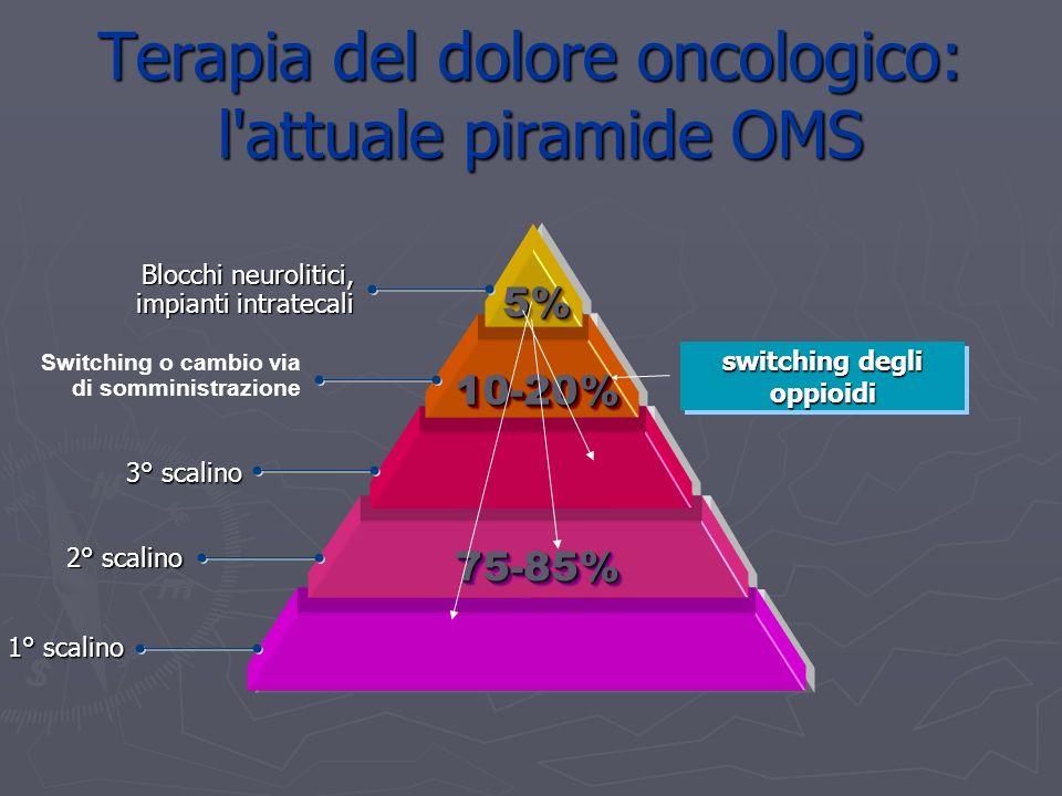 5%5% 10-20%10-20% 75-85%75-85% Blocchi neurolitici, impianti intratecali 3° scalino 2° scalino 1° scalino Switching o cambio via di somministrazione switching degli oppioidi Terapia del dolore oncologico: l attuale piramide OMS