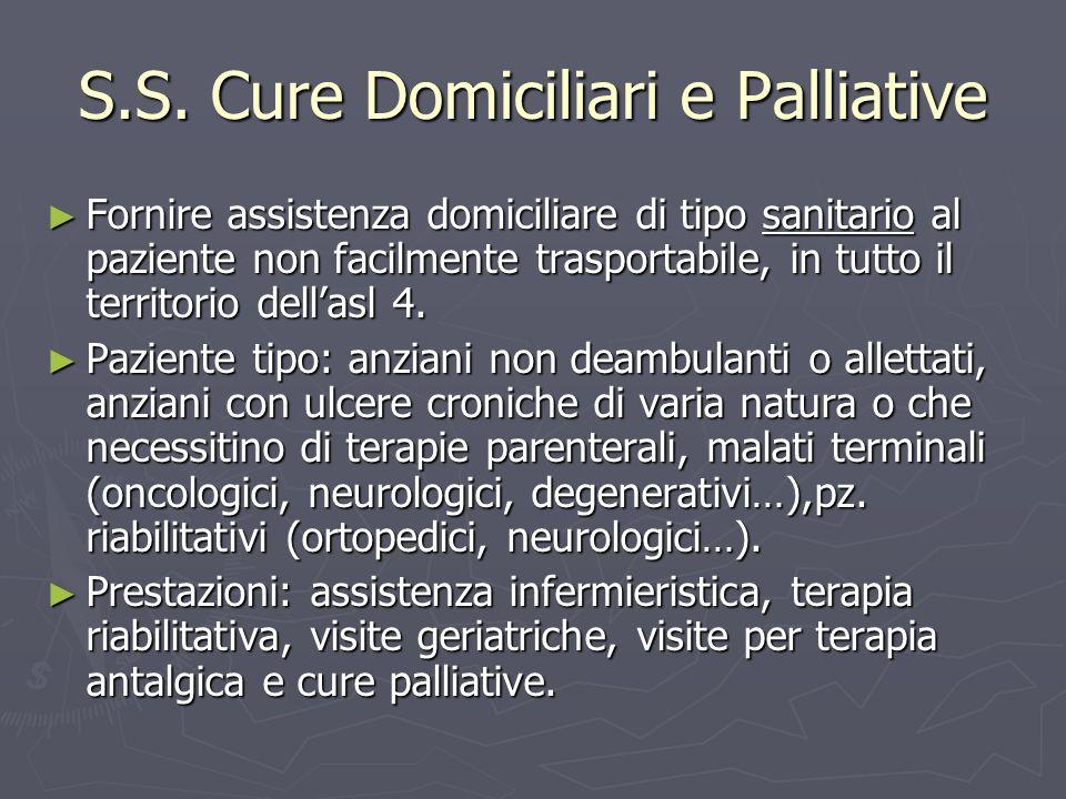 Fornire assistenza domiciliare di tipo sanitario al paziente non facilmente trasportabile, in tutto il territorio dellasl 4.