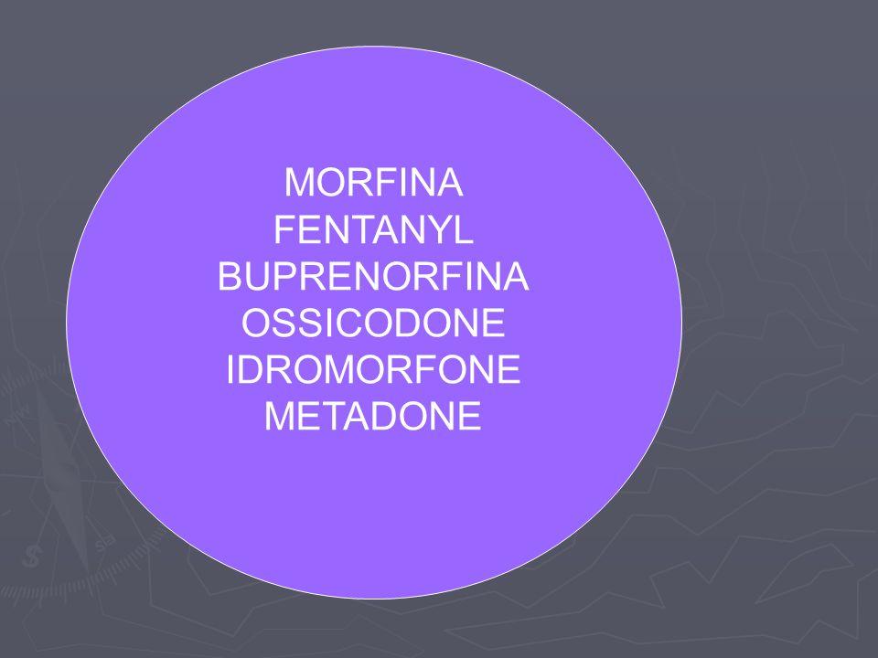 MORFINA FENTANYL BUPRENORFINA OSSICODONE IDROMORFONE METADONE