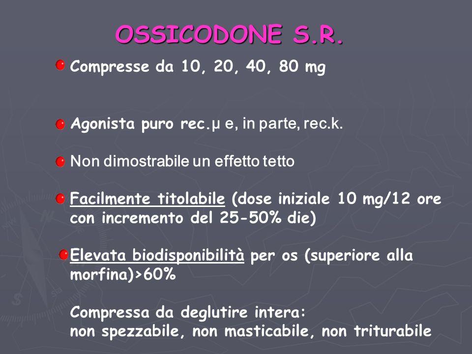 Compresse da 10, 20, 40, 80 mg Agonista puro rec.µ e, in parte, rec.k.