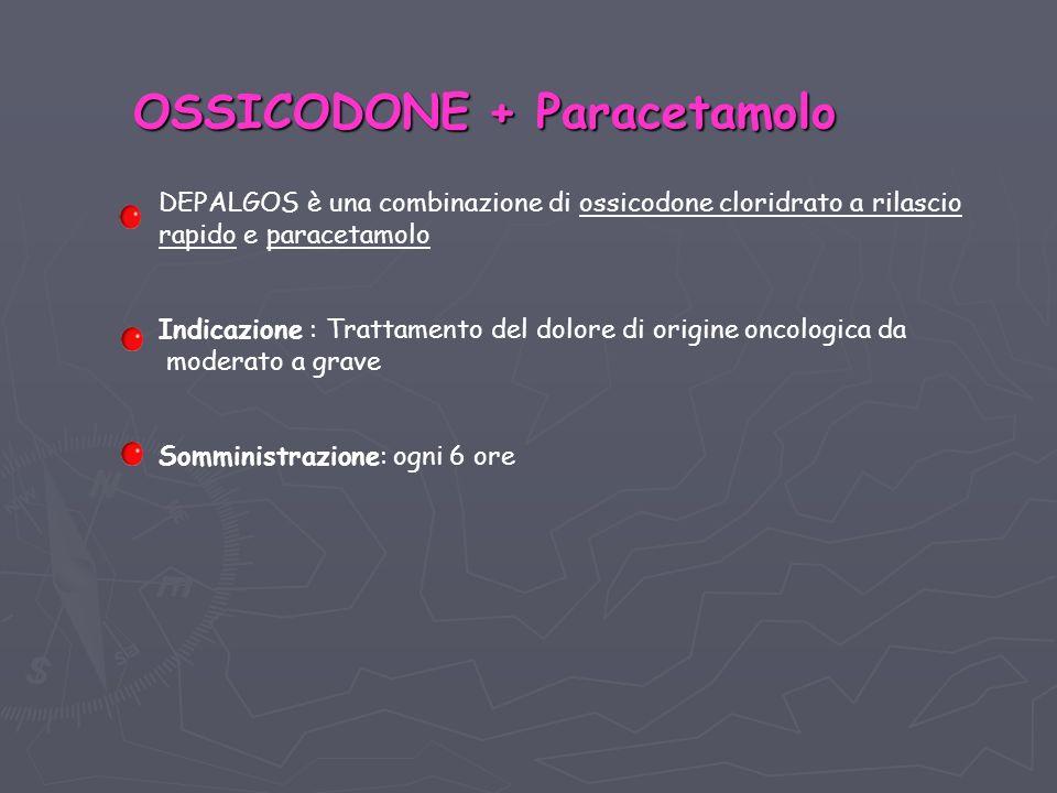 OSSICODONE + Paracetamolo DEPALGOS è una combinazione di ossicodone cloridrato a rilascio rapido e paracetamolo Indicazione : Trattamento del dolore di origine oncologica da moderato a grave Somministrazione: ogni 6 ore