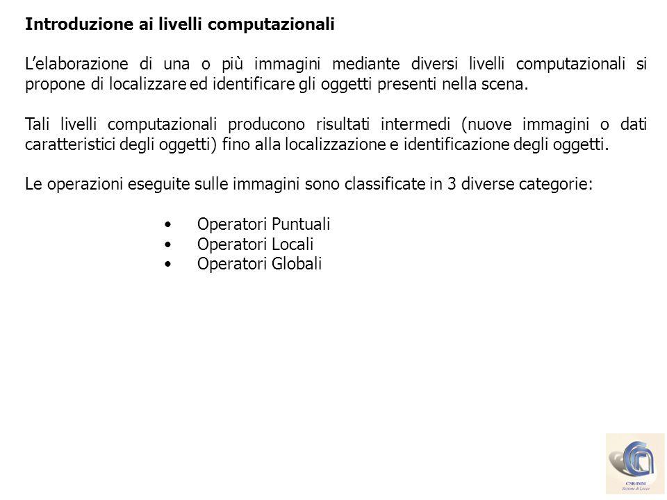 Operatori puntuali: algoritmi che eseguono operazioni elementari su ciascun pixel dellimmagine senza dipendere dai pixel vicini.