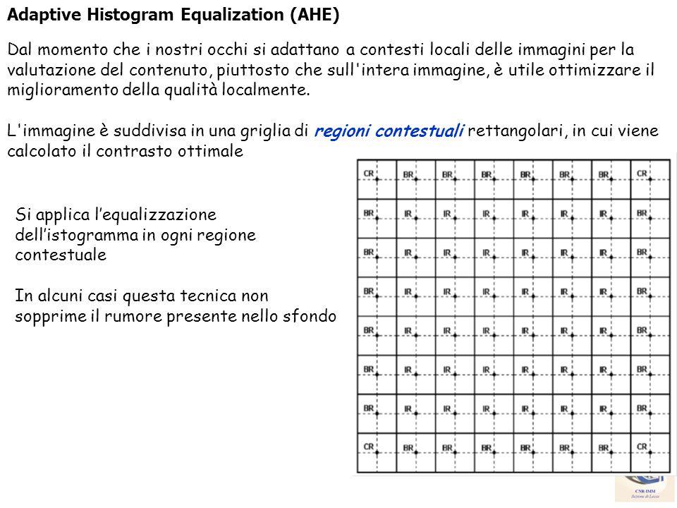 Adaptive Histogram Equalization (AHE) Dal momento che i nostri occhi si adattano a contesti locali delle immagini per la valutazione del contenuto, pi