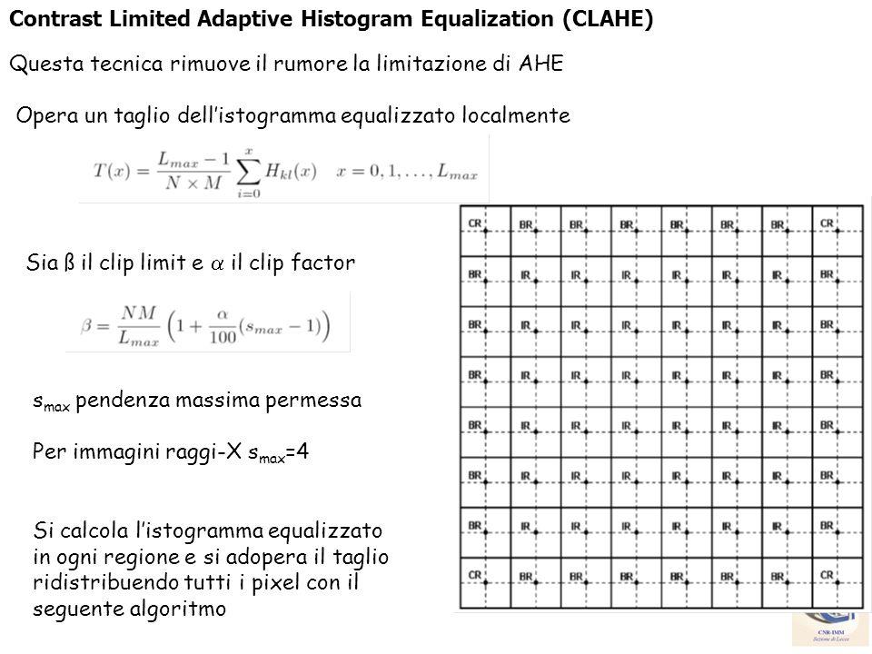 Contrast Limited Adaptive Histogram Equalization (CLAHE) Questa tecnica rimuove il rumore la limitazione di AHE Opera un taglio dellistogramma equaliz