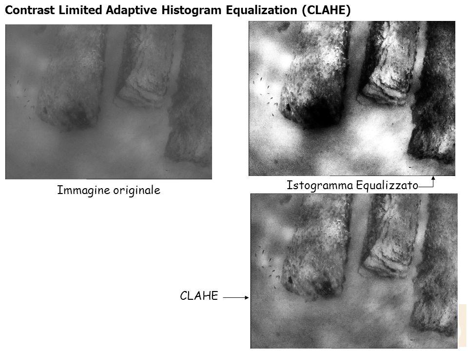 Contrast Limited Adaptive Histogram Equalization (CLAHE) Immagine originale CLAHE Istogramma Equalizzato