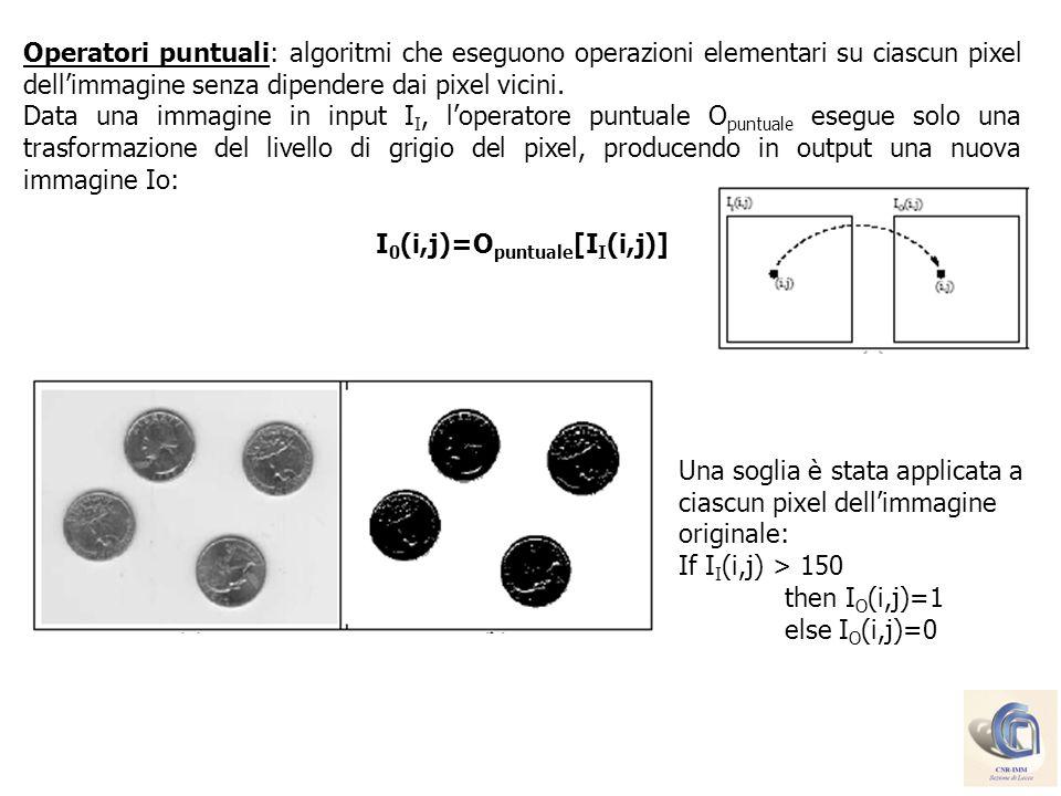 Operatori puntuali: algoritmi che eseguono operazioni elementari su ciascun pixel dellimmagine senza dipendere dai pixel vicini. Data una immagine in