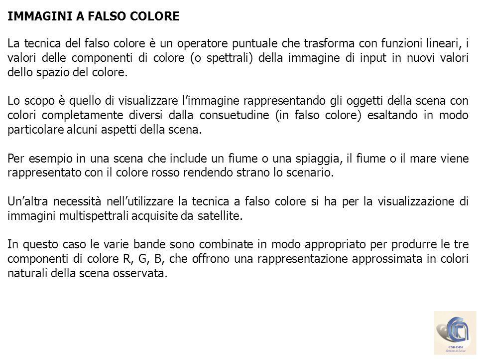 IMMAGINI A FALSO COLORE La tecnica del falso colore è un operatore puntuale che trasforma con funzioni lineari, i valori delle componenti di colore (o