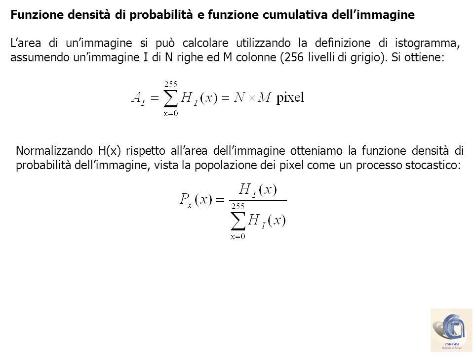 Funzione densità di probabilità e funzione cumulativa dellimmagine Larea di unimmagine si può calcolare utilizzando la definizione di istogramma, assu