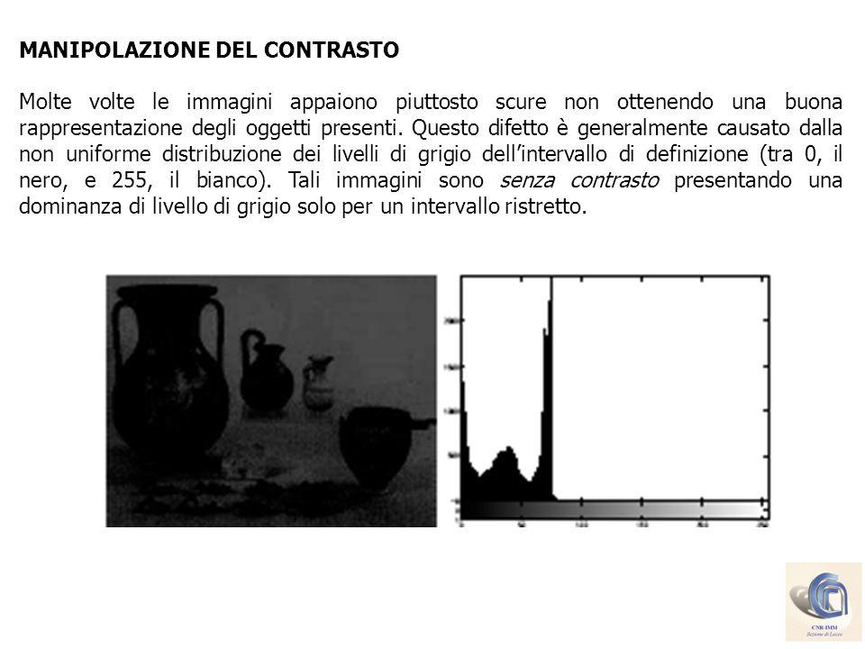 MODIFICA DELLISTOGRAMMA Le tecniche di manipolazione del contrasto esaminate in precedenza, migliorano le qualità visive dellimmagine aumentando lintervallo di distribuzione dei livelli di grigio senza però alterare la forma di tale distribuzione (istogramma).