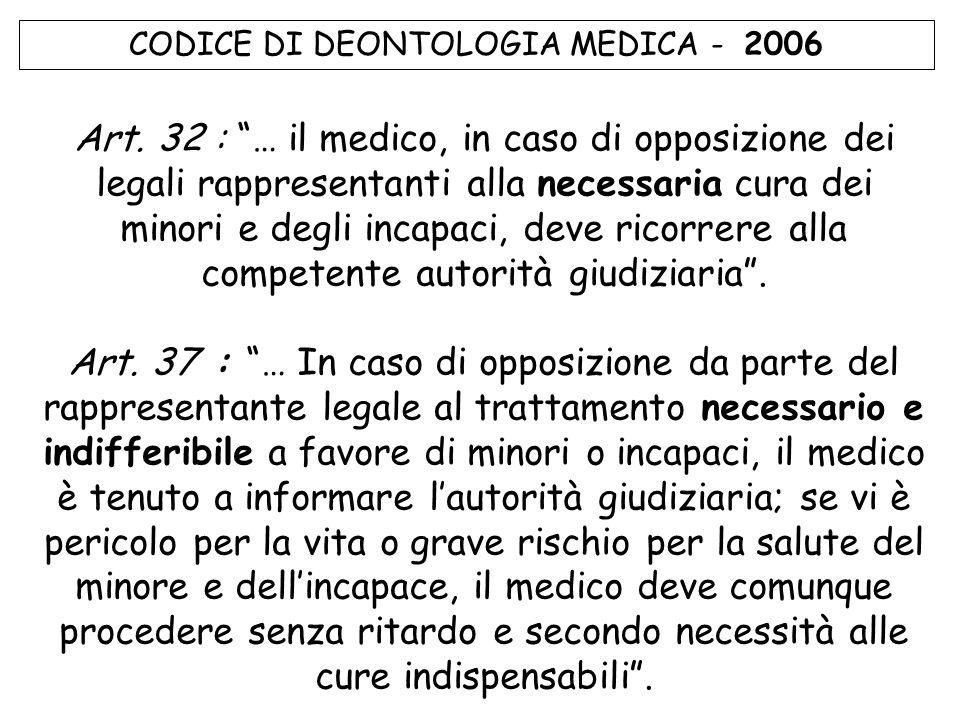 CODICE DI DEONTOLOGIA MEDICA - 2006 Art.