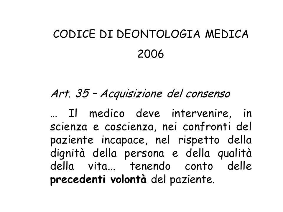 CODICE DI DEONTOLOGIA MEDICA 2006 Art.