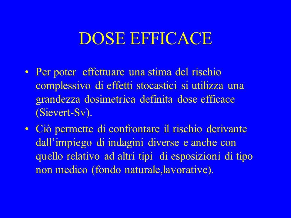DOSE EFFICACE Per poter effettuare una stima del rischio complessivo di effetti stocastici si utilizza una grandezza dosimetrica definita dose efficac