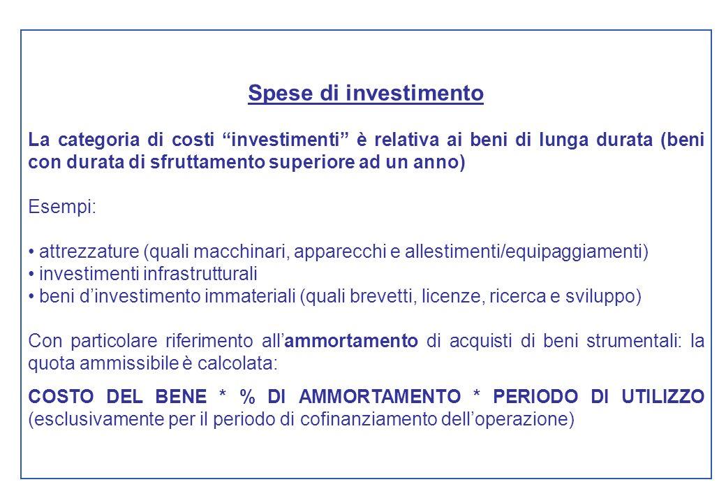 Spese di investimento La categoria di costi investimenti è relativa ai beni di lunga durata (beni con durata di sfruttamento superiore ad un anno) Ese
