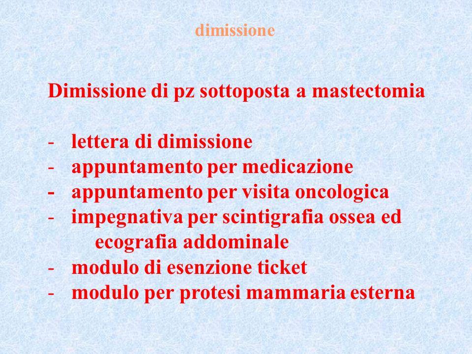 dimissione Dimissione di pz sottoposta a mastectomia -lettera di dimissione -appuntamento per medicazione - appuntamento per visita oncologica -impegn