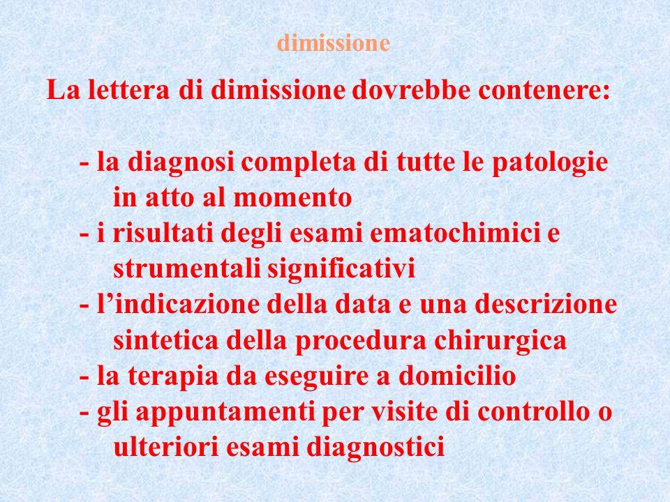 dimissione La lettera di dimissione dovrebbe contenere: - la diagnosi completa di tutte le patologie in atto al momento - i risultati degli esami emat