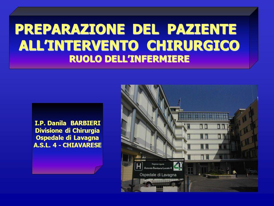 PREPARAZIONE DEL PAZIENTE ALLINTERVENTO CHIRURGICO RUOLO DELLINFERMIERE I.P. Danila BARBIERI Divisione di Chirurgia Ospedale di Lavagna A.S.L. 4 - CHI