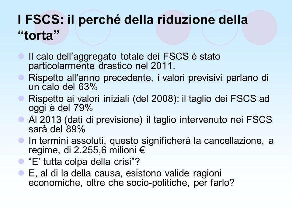 I FSCS: il perché della riduzione della torta Il calo dellaggregato totale dei FSCS è stato particolarmente drastico nel 2011.