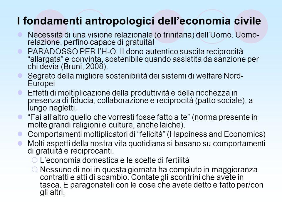 I fondamenti antropologici delleconomia civile Necessità di una visione relazionale (o trinitaria) dellUomo.