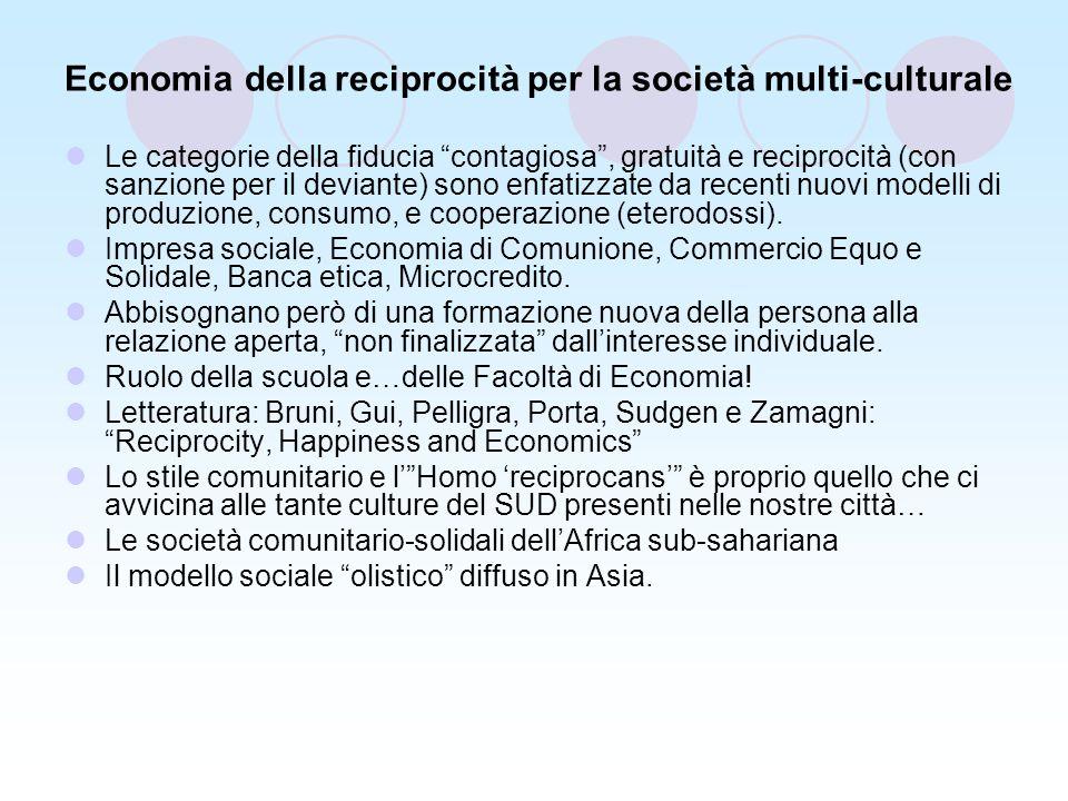 Economia della reciprocità per la società multi-culturale Le categorie della fiducia contagiosa, gratuità e reciprocità (con sanzione per il deviante) sono enfatizzate da recenti nuovi modelli di produzione, consumo, e cooperazione (eterodossi).