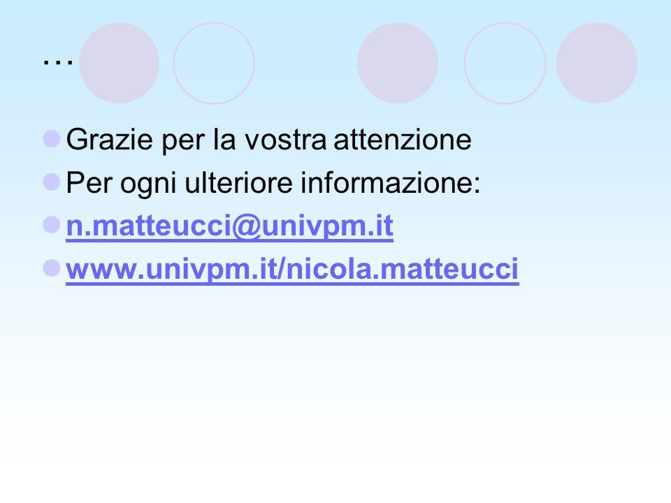… Grazie per la vostra attenzione Per ogni ulteriore informazione: n.matteucci@univpm.it www.univpm.it/nicola.matteucci